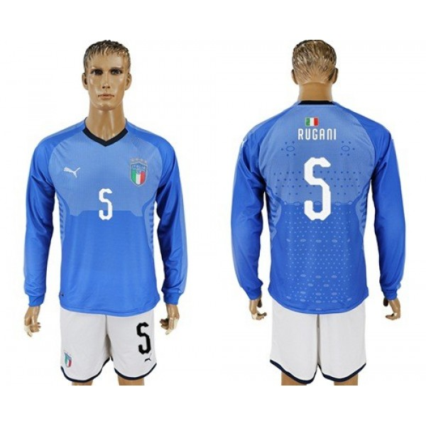 Italy No.5 Rugani Blue Home Long Sleeves Football Country Jersey