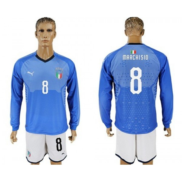 Italy No.8 Marchisio Blue Home Long Sleeves Football Country Jersey