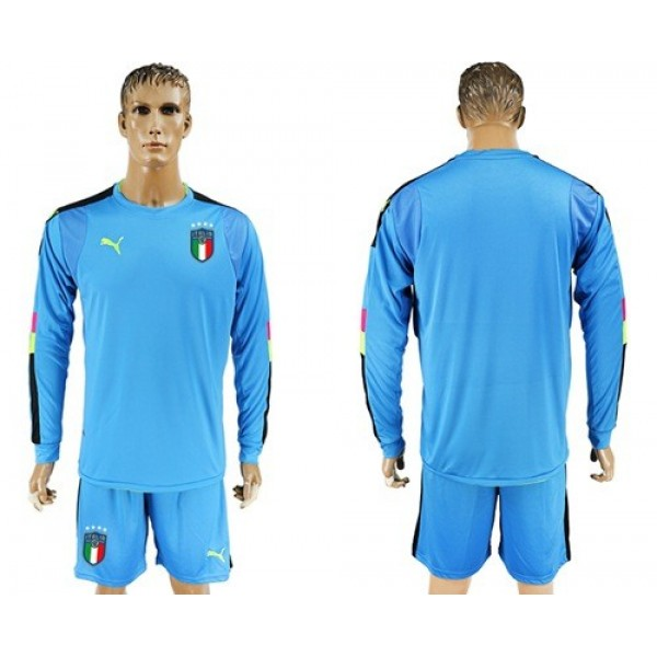 Italy Blank Blue Long Sleeves Goalkeeper Football Country Jersey