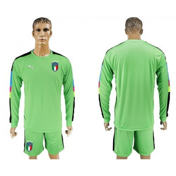 Italy Blank Green Long Sleeves Goalkeeper Football Country Jersey