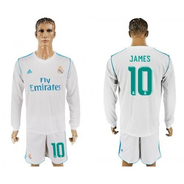 Real Madrid No.10 James White Home Long Sleeves Football Club Jersey