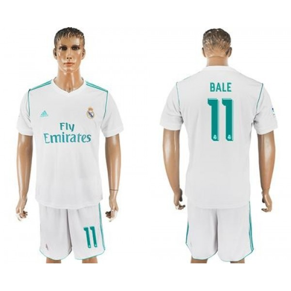 Real Madrid No.11 Bale White Home Football Club Jersey