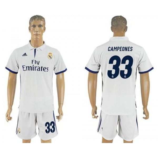 Real Madrid No.33 Campeones Home Football Club Jersey